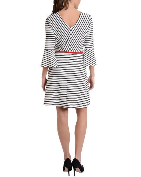 Striped Bell Sleeve Belted Dress~Ivory Monastripe*MDKD0368