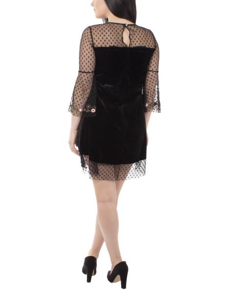 Petite Bell Sleeve Floral Embroidery Velvet Dress~Jet Roxyhart*YVTD0154