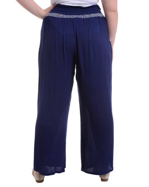 Plus Size Elastic Waistband Tassel Tie Pants~Navy Boat*WCRP0072