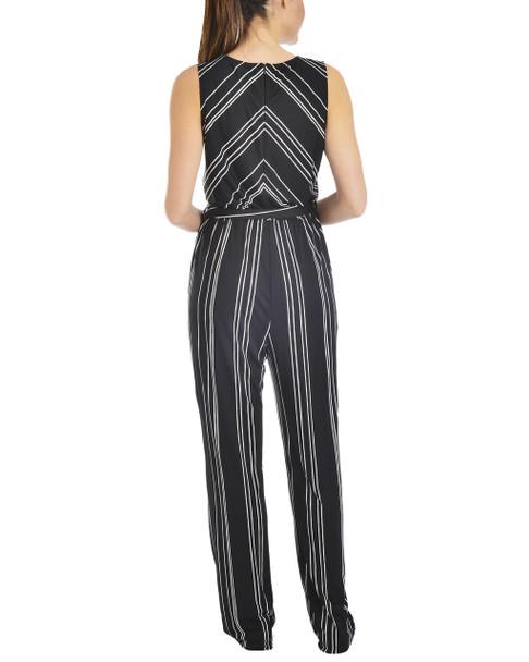 Petite Stripe Sleeveless Belted Jumpsuit~Noir Byeline*PITU5904
