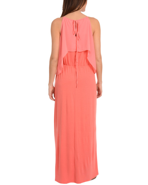 Ruffle Cold Shoulder Maxi Dress~Peach Mixcombo*MKPD0136