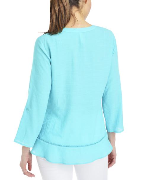 Petite 3/4 Sleeve Lace Trim Button Down Blouse~Turq Chiclily*PRJB0378