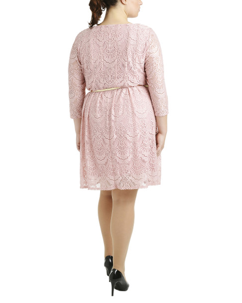 Plus Size Lace Overlay Dress with Contrasting Belt~Zep Antiquelace*ZLAD0228