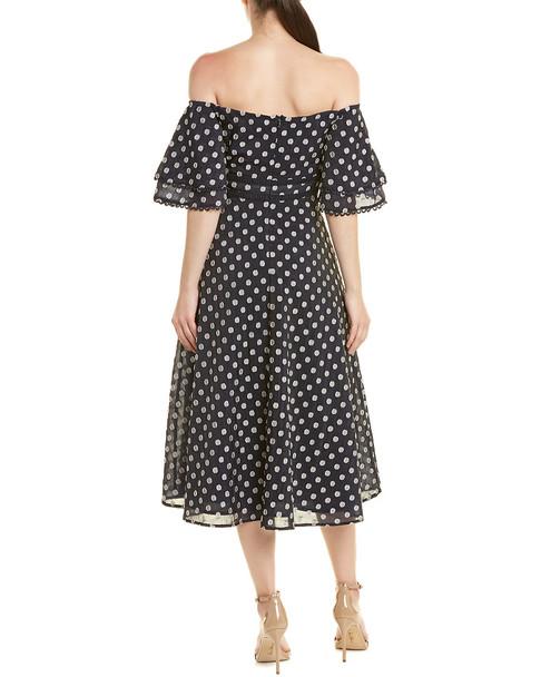 Champagne & Strawberry Off-the-Shoulder Midi Dress~1411938399
