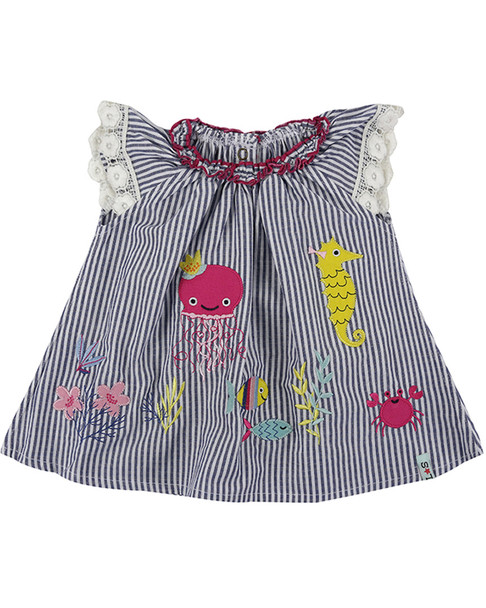 Lilly and Sid Stripe Applique Dress~1511080479