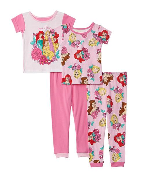 Character Sleepwear Disney Princess 4pc Pajama Set~1511135068
