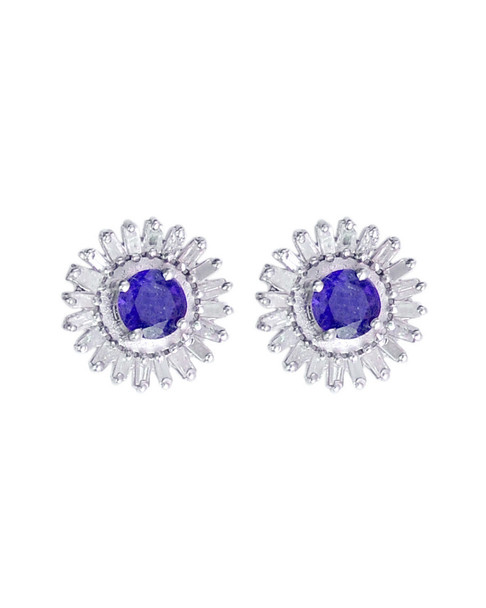 Forever Creations Silver 2.90 ct. tw. Diamond & Gemstone Studs~60302404960000