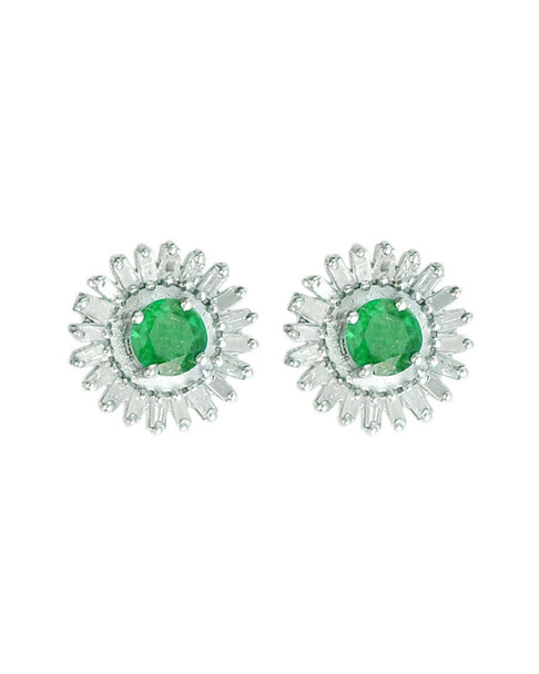 Forever Creations Silver 2.90 ct. tw. Diamond & Gemstone Studs~60302404970000