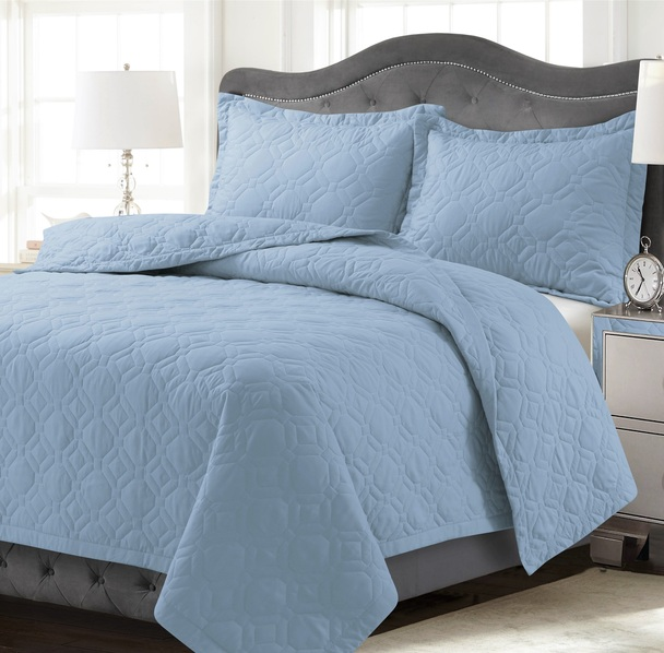 Lyon Oversized Quilt Set~Light/Pastel Blue*LYONQUILT