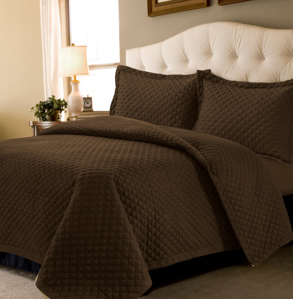Brisbane Oversized Quilt Set~Dark Brown*BRISQUILT