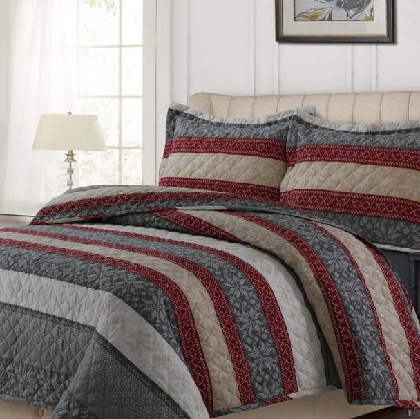 Alpine Knit 170-GSM Cotton Flannel Oversized Quilt Set~ALKN170QUILT