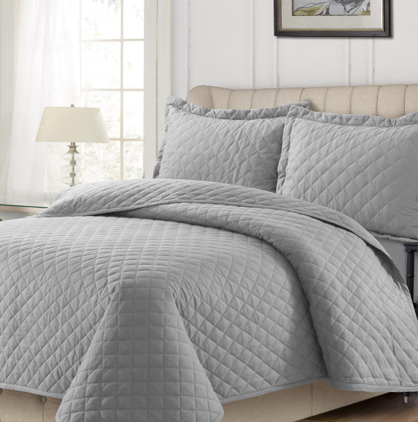 170-GSM Cotton Flannel Oversized Quilt Set~Light/Pastel Grey*170SOQUILT