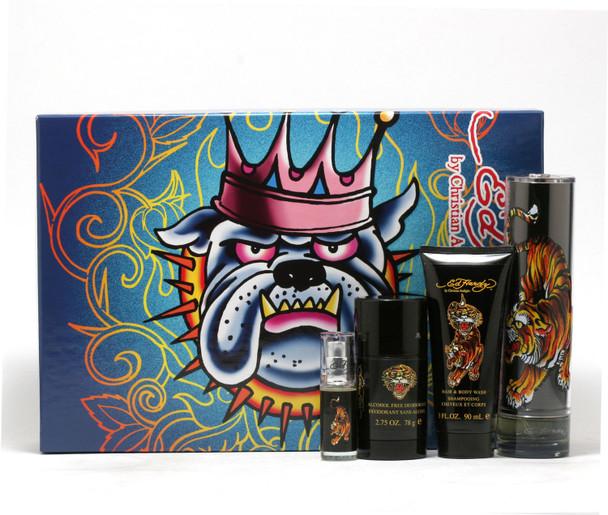 Ed Hardy for Men 4-Piece Set - 3.4 Spray/3 oz. Shower Gel/Mini Spray/2.75 oz. Deodorant