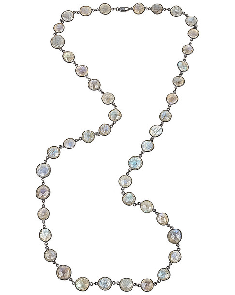 Forever Creations Rhodium Plated 120.00 ct. tw. Labradorite 36in Necklace~60305001160000