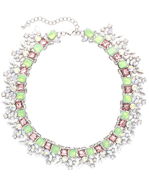 Sparkling Sage Plated Crystal & Resin Statement Necklace~60305228970000