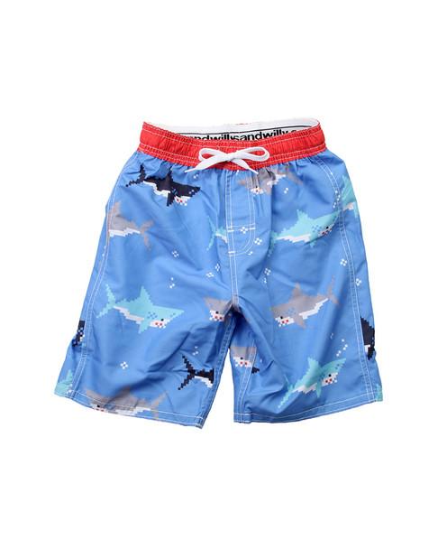 Wes Willy Bitmap Sharks Swim Trunk~1511052951
