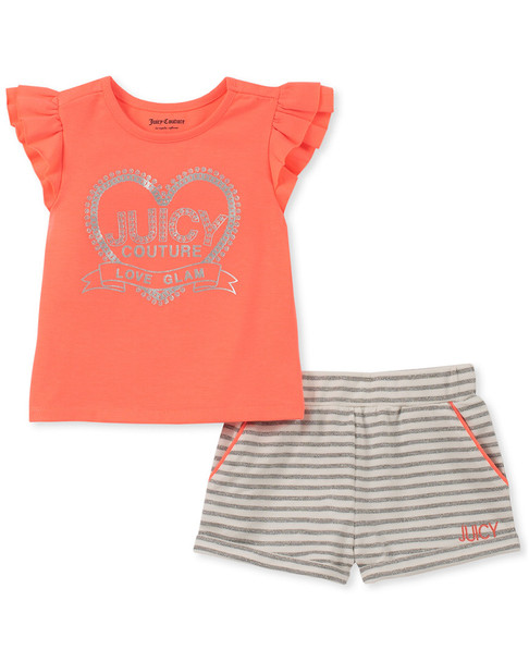 Juicy 2pc Pink And Stripe Short Set~1511198780