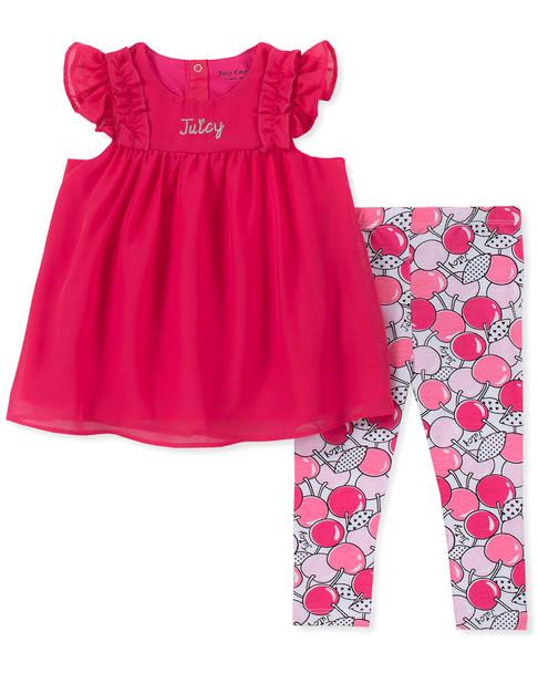 Juicy Tunic Pink Floral Legging Set~1511198831