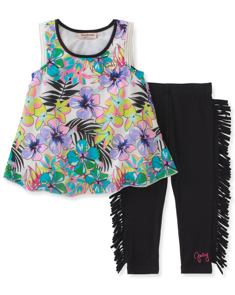 Juicy Couture Floral Top & Fringed Legging Set~1511900864