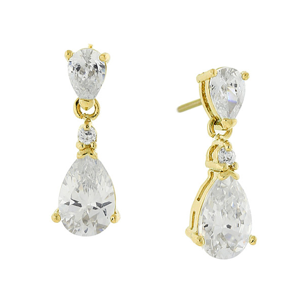 14K Gold-Dipped Cubic Zirconia Petite Teardrop Earrings~25595