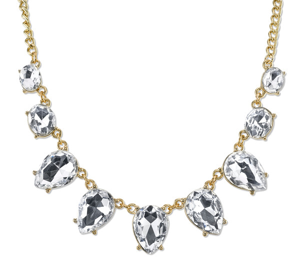 "16"" Adjustable Gold-Tone/Clear Faceted Crystal Collar Necklace~40159"