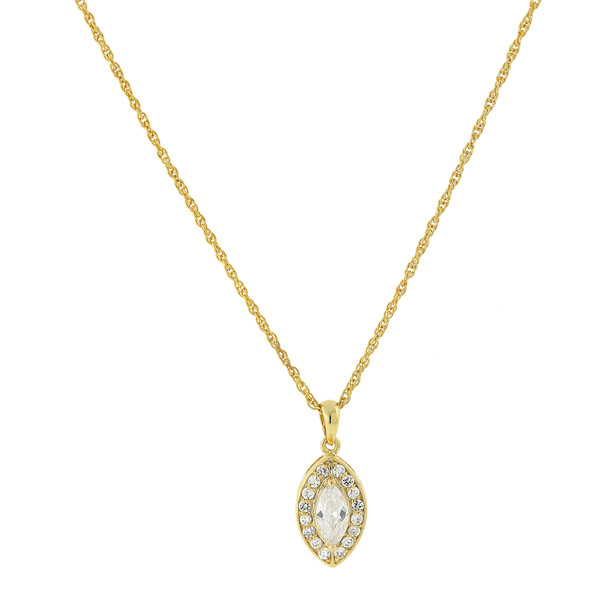"""16"""" Adjustable 14K Gold-Dipped Marquise-Shaped Cubic Zirconia Pendant Necklace~41407"""
