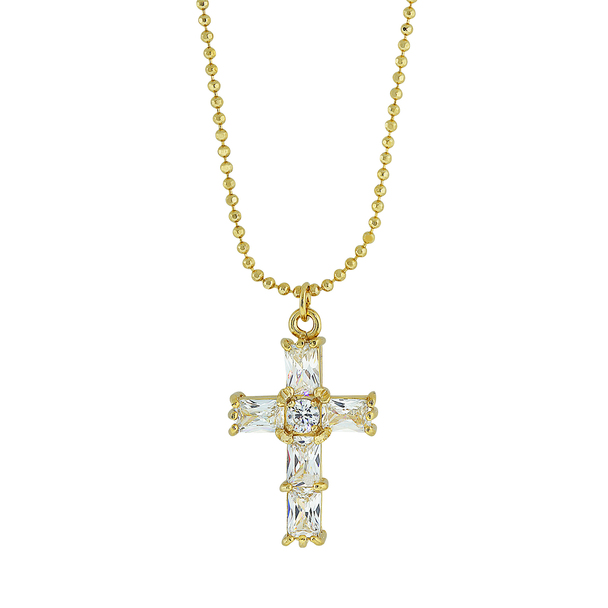 "18"" 14K Gold-Dipped Cubic Zirconia Cross Necklace~41444"