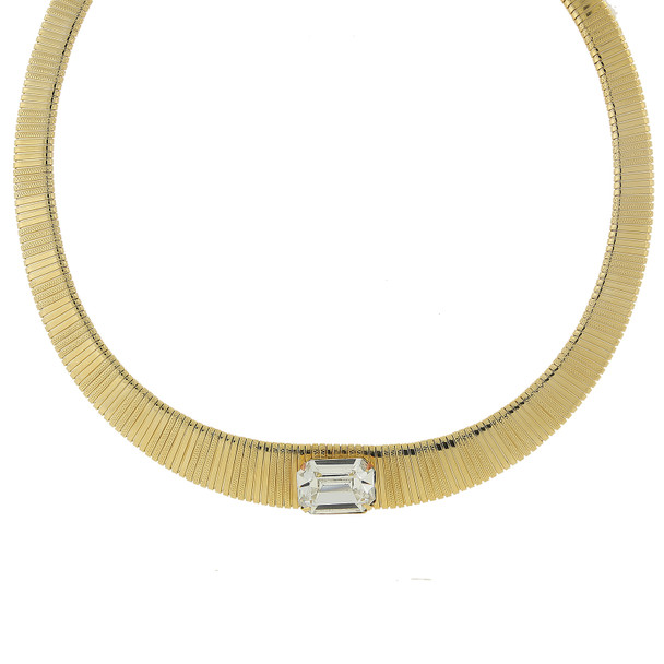 "18"" Adjustable 14K Gold-Dipped Collar Necklace with Swarovski Crystal~41739"