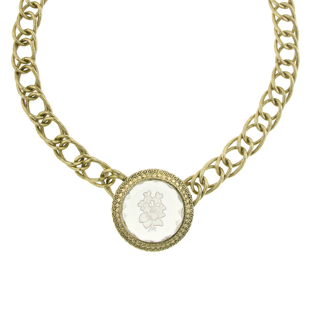 "15.5"" Adjustable Gold-Tone Clear Intaglio Pendant Chain Necklace~47865"