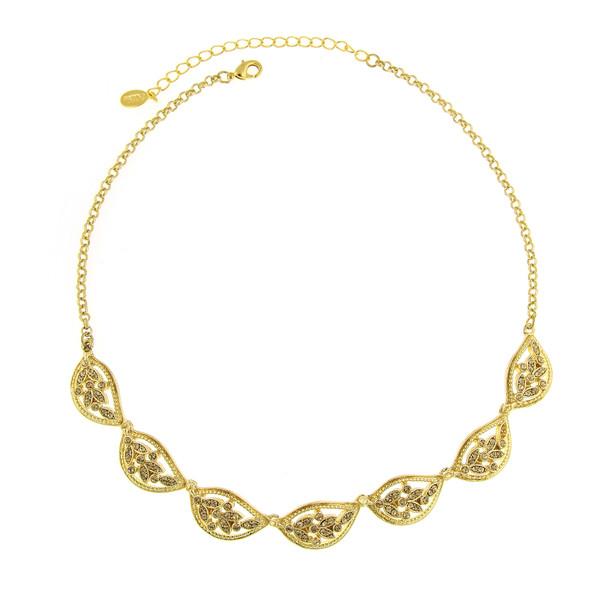 """16"""" Adjustable Gold-Tone/Topaz Color Leaf Collar Necklace~48414"""