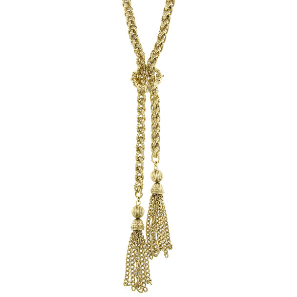"""27"""" Gold-Tone Chain Tassel Necklace~48862"""