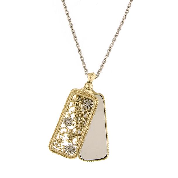 "30"" Gold/Silver-Tone Flower Filigree Mirror Pendant Necklace~52411"