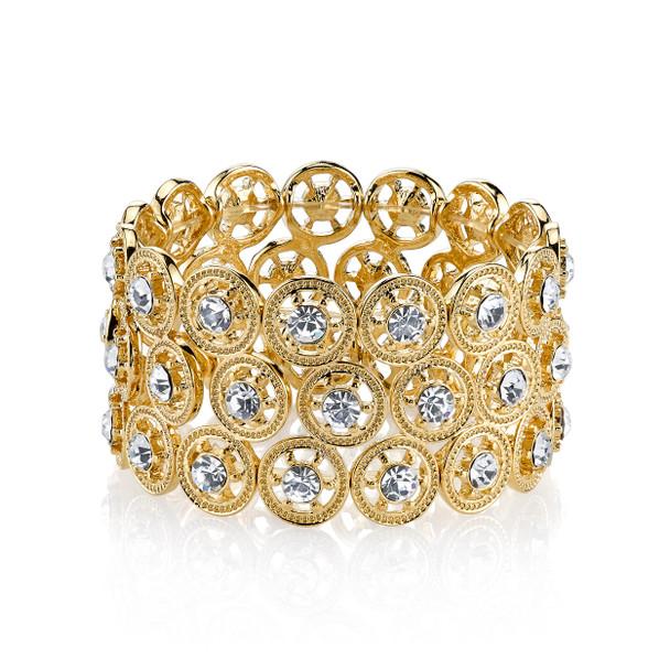 Gold-Tone Crystal Stretch Bracelet~62066