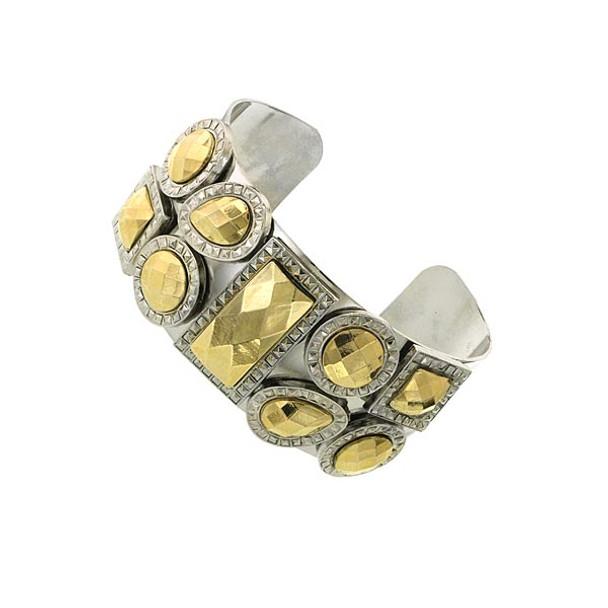 Silver-Tone Droplet Cuff Bracelet~62326