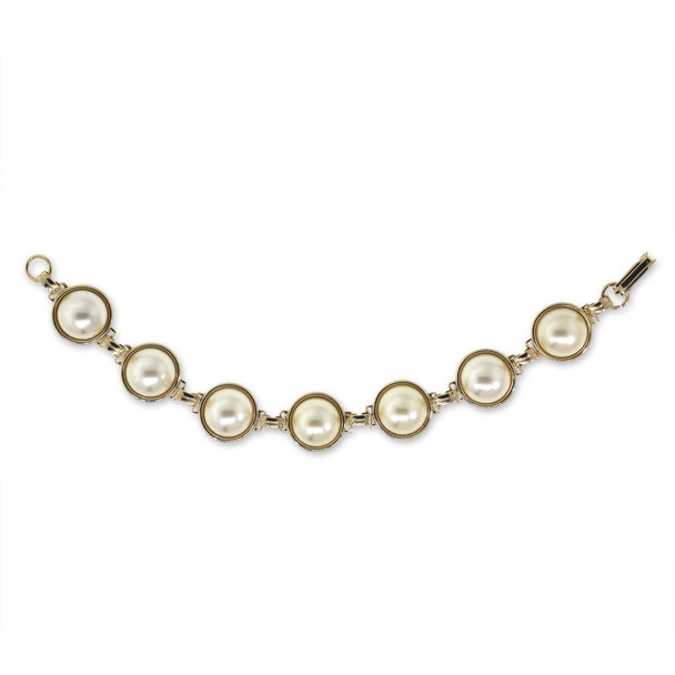 Gold-Tone Multi Faux Pearl Link Bracelet~78531