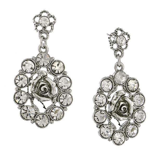 Silver-Tone Crystal Oval Flower Drop Earrings~24461