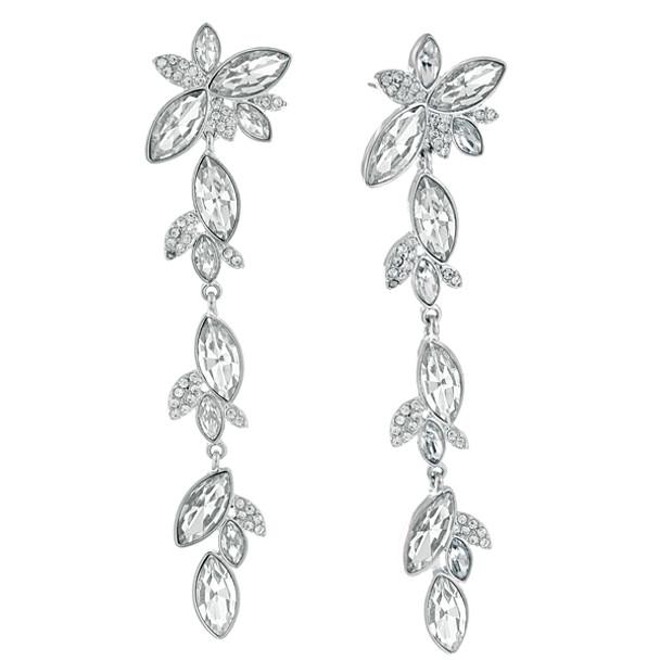 Silver-Tone Crystal Statement Linear Drop Earrings~24635