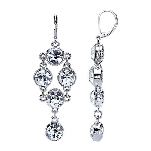 Silver-Tone Crystal Chandelier Drop Earrings~28855