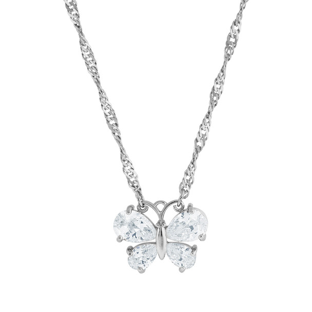 "16"" Adjustable Silver-Tone Cubic Zirconia Butterfly Necklace~41394"