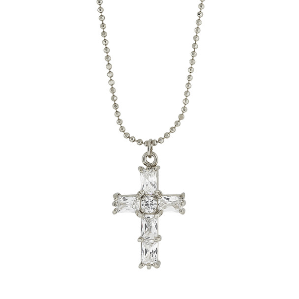 "18"" Silver-Tone Cubic Zirconia Cross Necklace~41445"