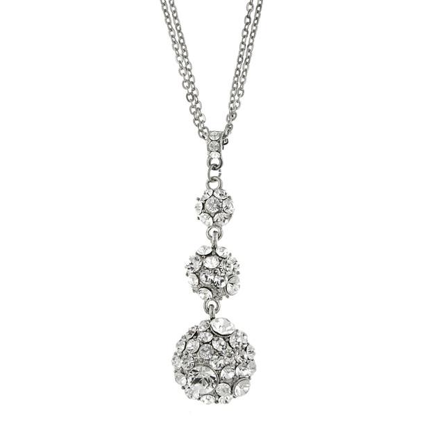 """16"""" Adjustable Silver-Tone Crystal Drop Necklace~48761"""