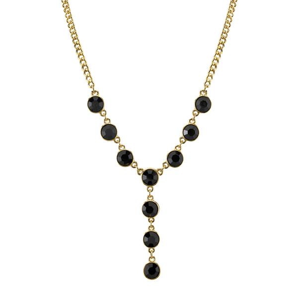 """16"""" Adjustable Gold-Tone/Black Crystal Y-Necklace~41643"""