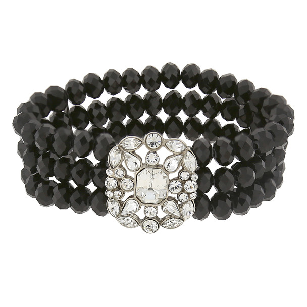 Black Beaded Stretch Bracelet with Silver-Tone Clear Crystals~63076