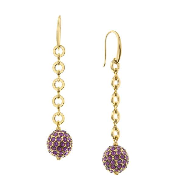 Gold-Tone/Amethyst Linear Fireball Earrings~28482
