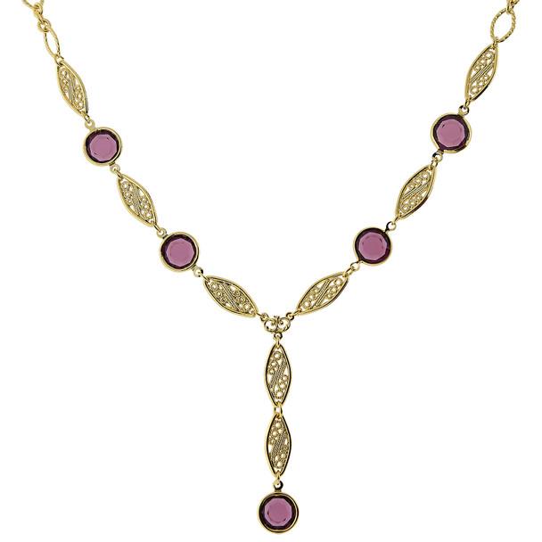 "16"" Adjustable 14K Gold-Dipped/Amethyst Purple Genuine Swarovski Crystal Y-Necklace~44181"