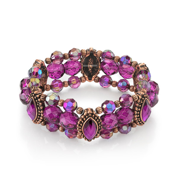 Burnished Copper-Tone/Amethyst Purple and AB Beaded Stretch Bracelet~62382