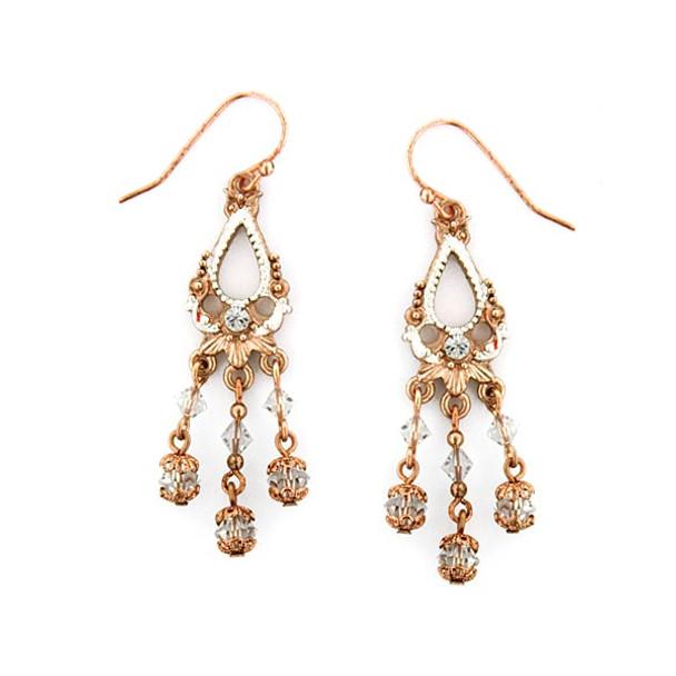 Rose Gold/Silver/Crystal Lantern Drop Wire Earrings~26237