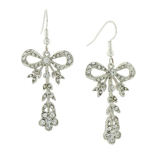 Silver-Tone Crystal Bow Drop Earrings~25448