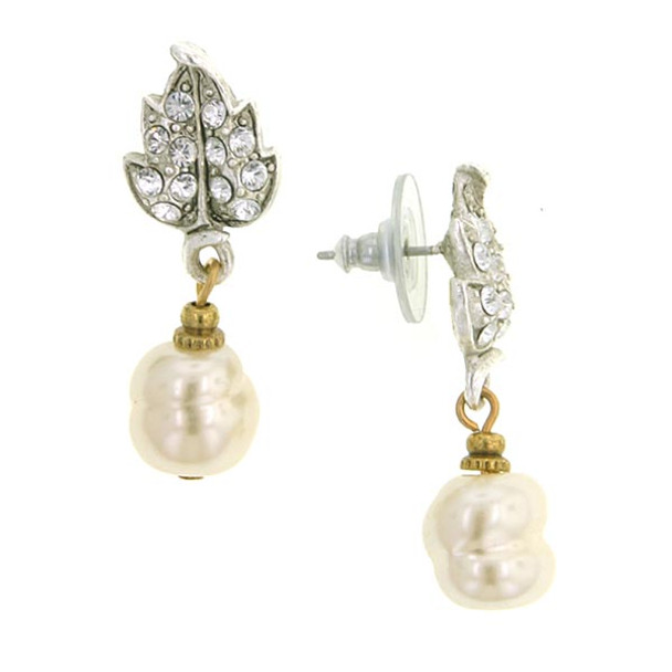 Silver-Tone Crystal Baroque Simulated Pearl Drop Post Earrings~22146