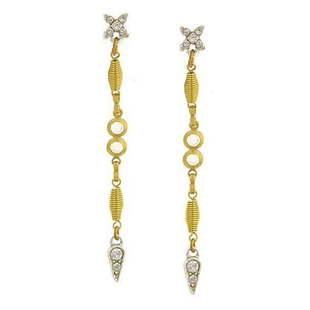 Gold-Tone/Silver-Tone Crystal Linear Drop Earrings~25401